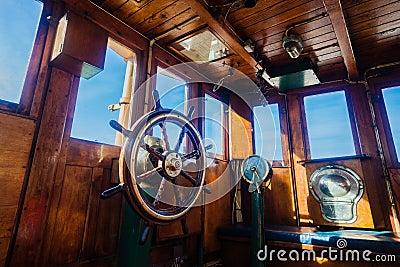 Tug Vessel Deck Command Wheel  Editorial Image