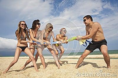 Tug-of-war on the beach