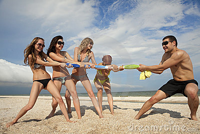 Tug-of-war on the beach