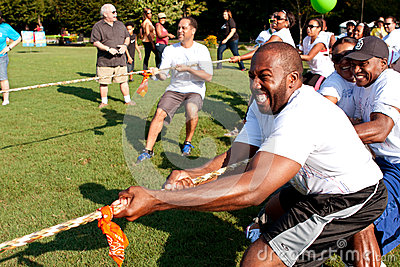 Tug-Of-War Teams Pull Rope In Summer Fundraising Event Editorial Stock Image