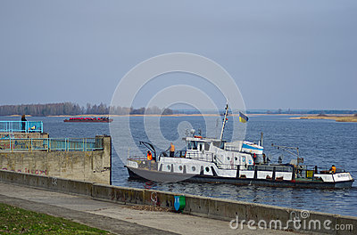 Tugboat on the Dnieper River Editorial Stock Photo