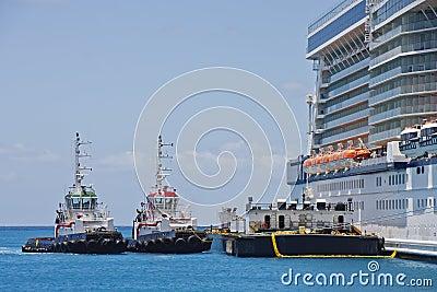 Tugboats e barca pelo navio de cruzeiros