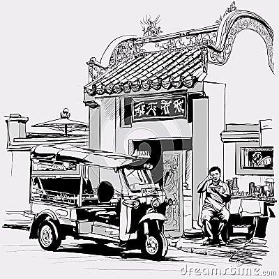 Free Tuk Tuk Driver Eating At The Door Of A Chinese Temple In Bangkok Stock Photos - 36294423