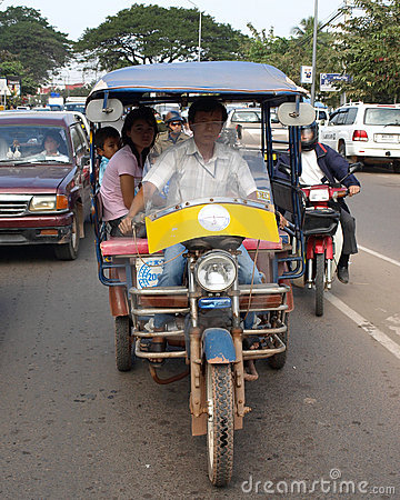 Tuk Tuk Taxi in Laos Editorial Stock Photo
