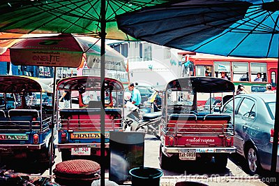 Tuk tuk taxis on the road in Bangkok Editorial Stock Photo