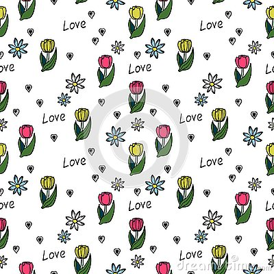 Floral seamless pattern on a white background. Vector Illustration