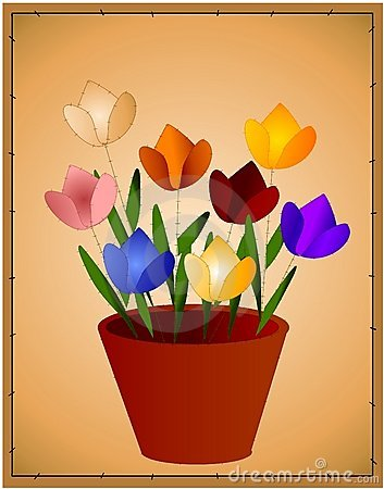 Tulip Background Flower Pot