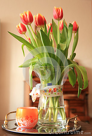 Tulip Bouquet With Happy Birthday Wish Royalty Free Stock