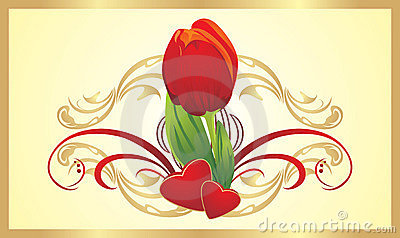 Tulip, two hearts and gothic ornament. Card