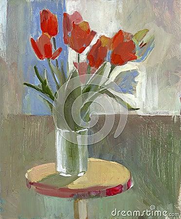 Tulipanes de la pintura al óleo