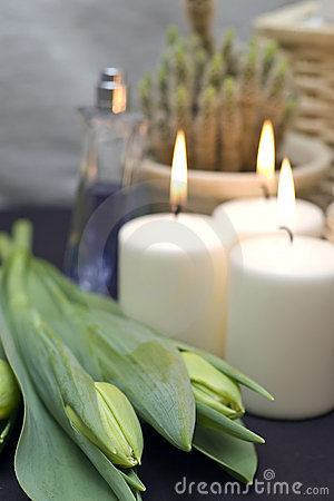 Free Tulips And Candles Stock Photography - 4400322