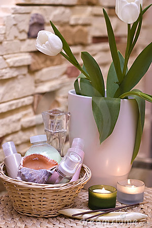 Free Tulips And Home Spa Royalty Free Stock Photos - 4271418