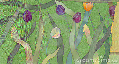 Tulips batik background