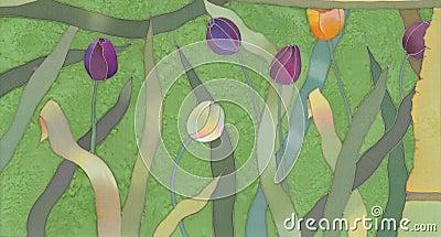 Tulips batik background