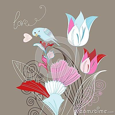 Tulips and bird