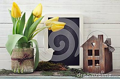 Tulips bouquet with blackboard