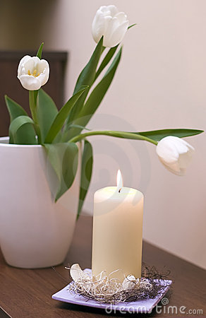 Tulips and candle
