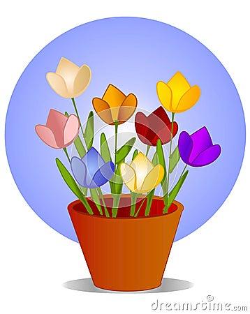 Tulips in Flower Pot Clip Art