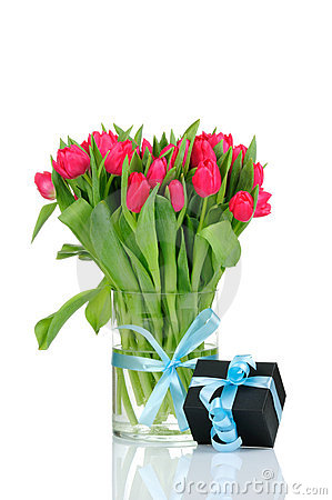 Tulips and gift box with blue ribbon