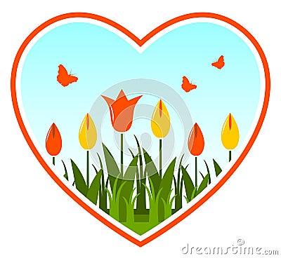 Tulips in heart
