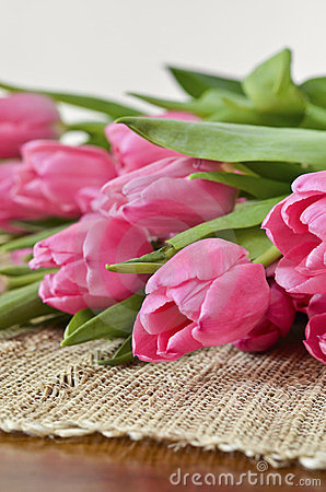 Tulips on a tablecloth