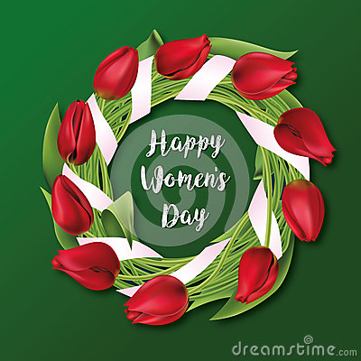 Free Tulips Wreath, Flowers, 8 March. Happy Women`s Day. Vector Royalty Free Stock Image - 86950596
