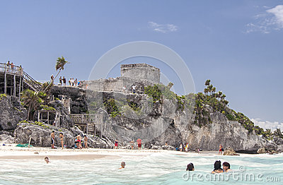 Tulum Ruins Temple Yucatan Mexico Editorial Photo