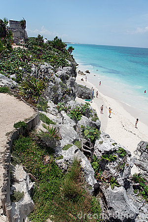 Free Tulum Ruins Temple Yucatan Mexico Royalty Free Stock Photography - 4102917
