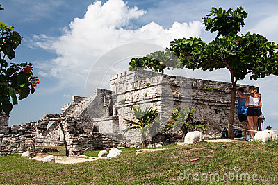 Tulum Temple Yucatan Mexico Editorial Stock Image