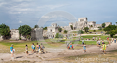 Tulum Temple Yucatan Mexico Editorial Stock Photo