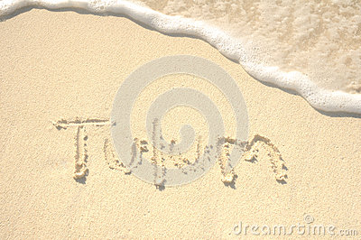 Tulum Written in Sand on Beach