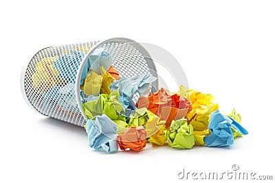 Tumbled office wastepaper basket