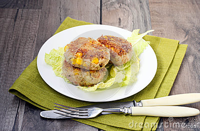 Tuna and corn cakes