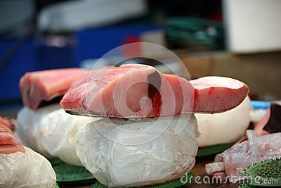 Tuna a fish fresh on ice. Fish market