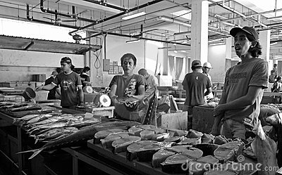 Tuna fish sellers at the market (Malaysia, Asia) Editorial Image