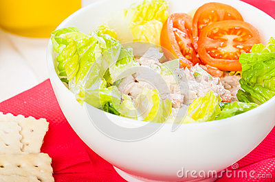 Tuna salad with crackers