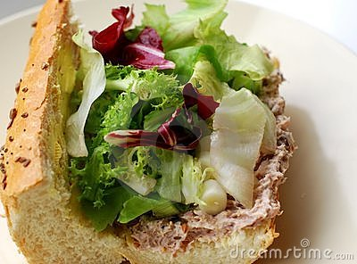 Tuna and salad in french bread