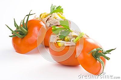 Tuna stuffed tomato celery corn soya bean