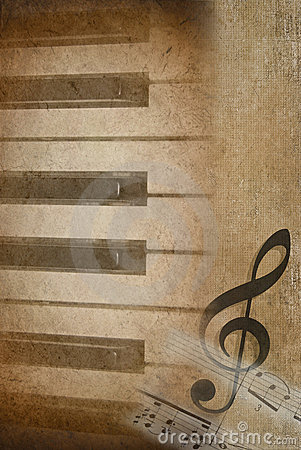 piano keys with treble clef