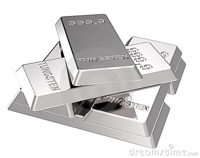 Tungsten ingots isolated on white