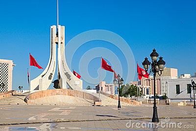 Tunis main square. Tourist attraction landmark with monuments an