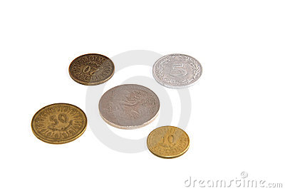 Tunisian coins isolated on white background