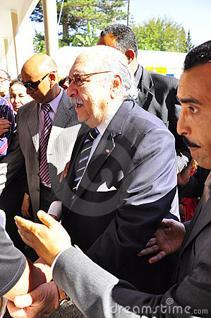 Tunisian interim President coming to vote Editorial Stock Image