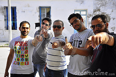 Tunisian men who voted Editorial Image