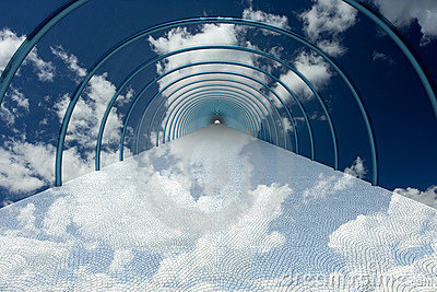 Tunnel in clouds.