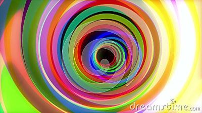 Tunnel coloré Animation de vol par des cercles de couleur Mouvement psychédélique de tour de tunnel d'anneaux colorés de lueur de banque de vidéos