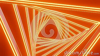 Tunnel di rotazione dell'arancione con conclusione triangolare, movimento di rotazione, sfondo video con effetto 3d illustrazione di stock