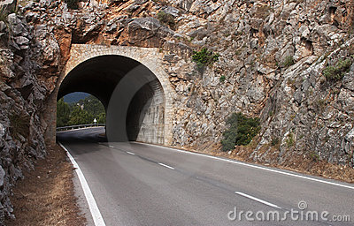 Tunnel on the road - RAW format