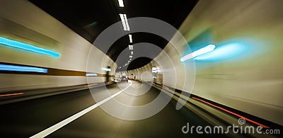 Tunnel Speed motion blur moving fast