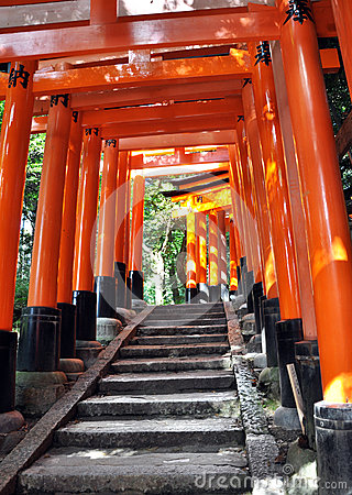 Tunnel of thousand torii gates in Fushimi Inari Shrine, Kyoto